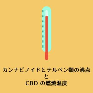 カンナビノイドとテルペン類の沸点と CBD の燃焼温度