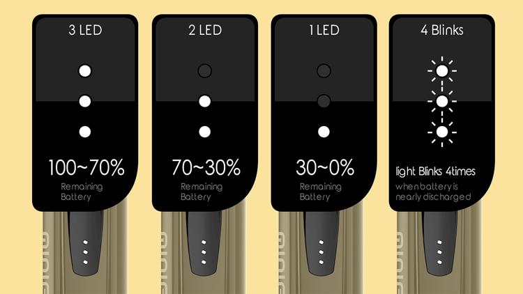 電池残量が LED の数でわかる