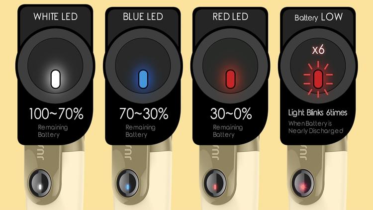 電池残量が LED の色でわかる