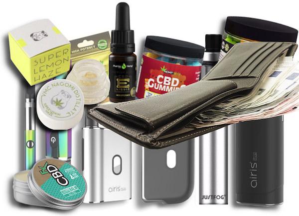 商品群と財布